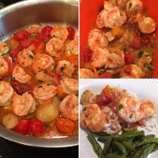 Heirloom Tomatoes and Garlic Shrimp