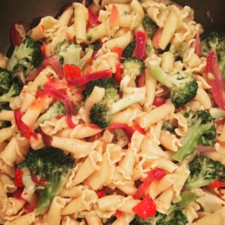 Garlic Olive Oil Pasta with Broccoli, Onions and Tomatoes